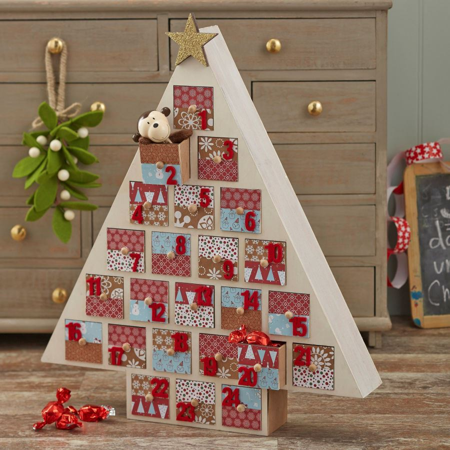 Hobbycraft Wooden Advent Calendar Christmas Tree Xmas Countdown House Decorat