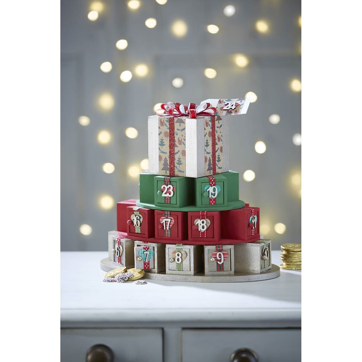 Hobbycraft wooden advent calendar present stack decorate How to build a wooden advent calendar