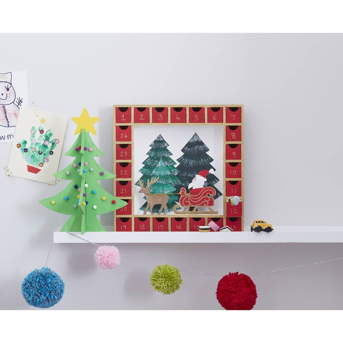 Hobbycraft Wooden Advent Calendar Christmas Scene 27 X 27