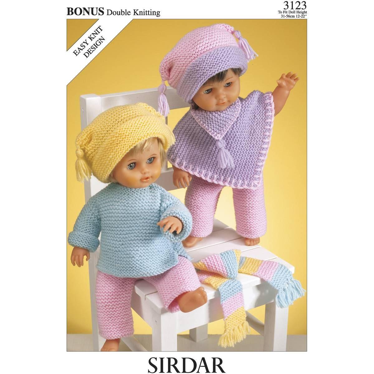 Sirdar Bonus DK Knitting Pattern Leaflet 3123 Dolls Clothing Needlecraft eBay