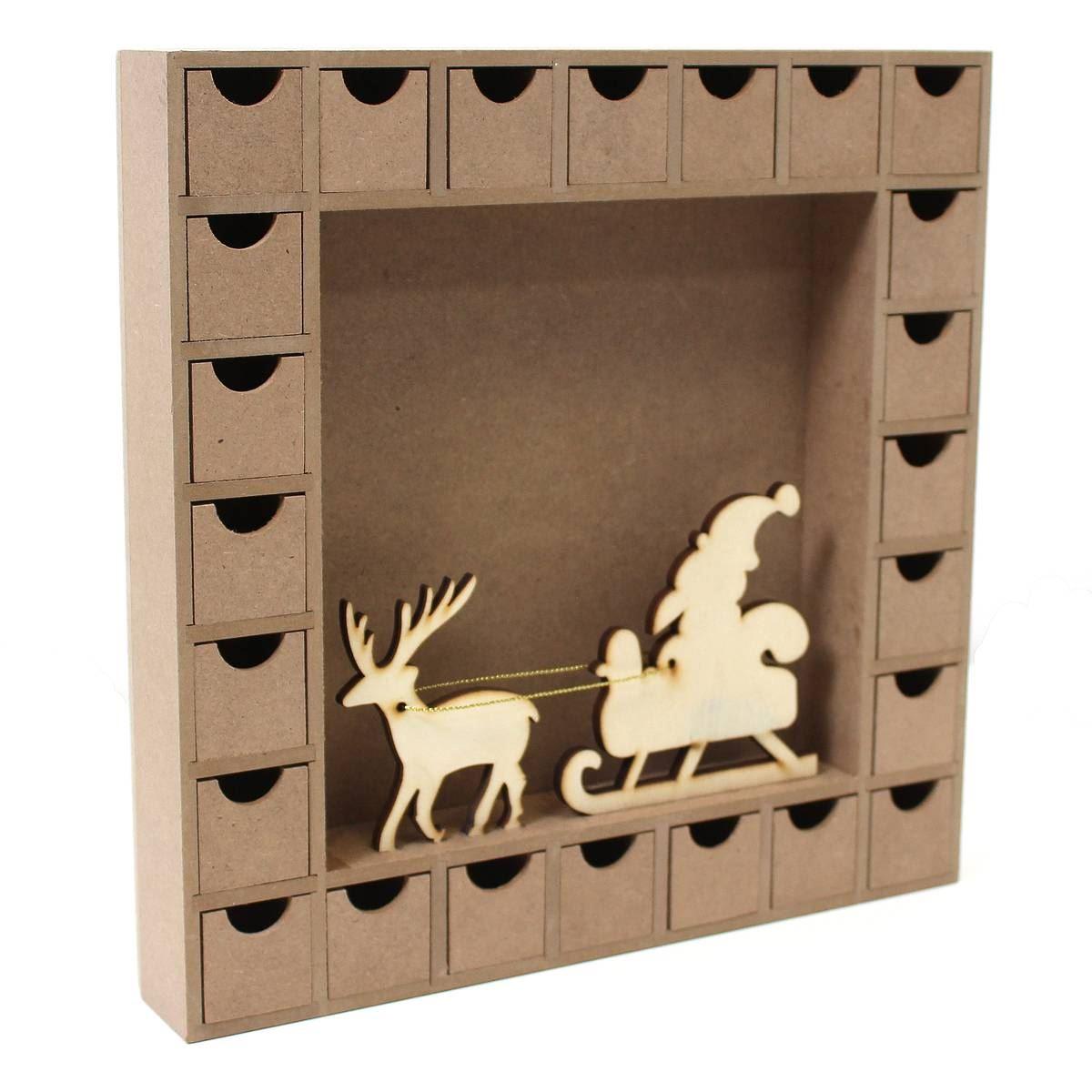 Hobbycraft Wooden Advent Calendar Christmas Scene 27 X 27