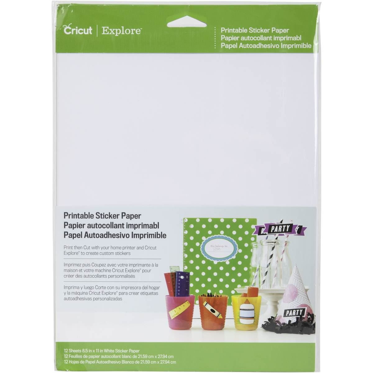 Cricut Printable Sticker Paper Set A4 12 Pack Adhesive
