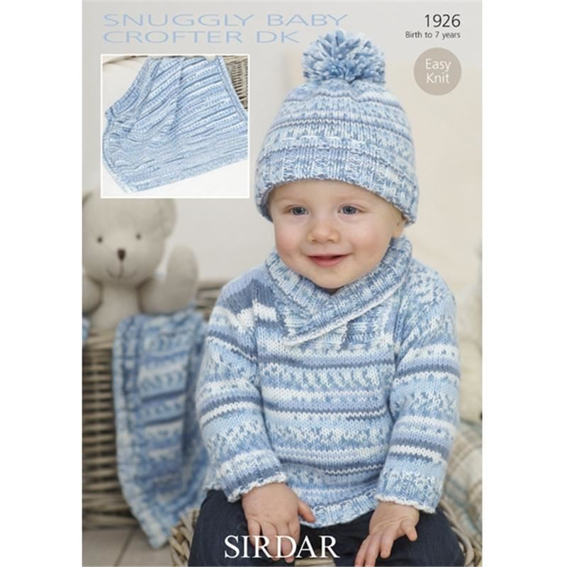 Free Knitting Pattern Baby Shawl Dk : Sirdar Snuggly Baby Crofter Dk Knitting Pattern 1926 Shawl Collared Sweater ...