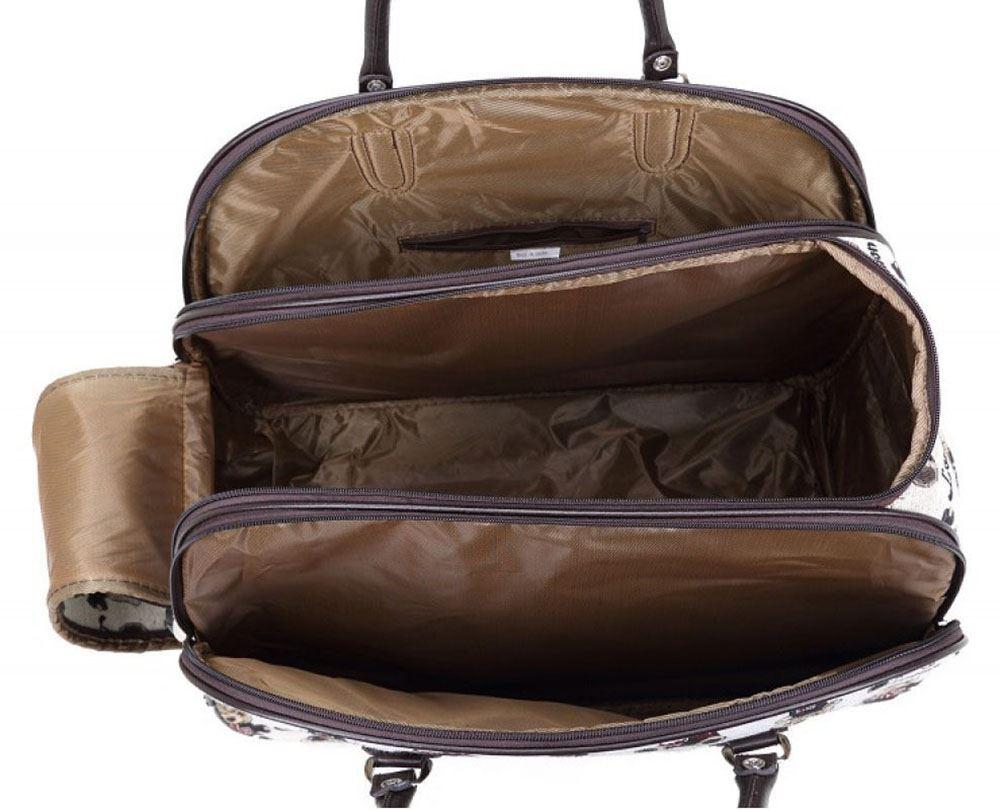 womens new travel suitcase holdall magazine teddy printed luggage wheeled bag ebay. Black Bedroom Furniture Sets. Home Design Ideas