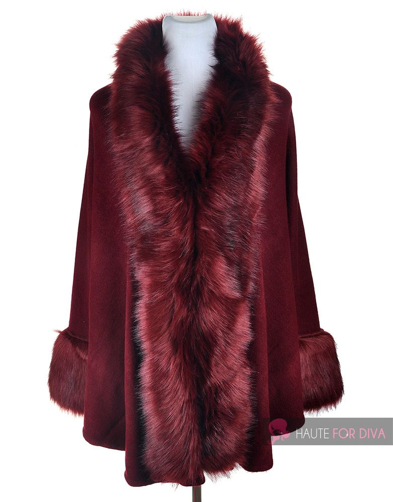 WOMEN-S-NEW-ELEGANT-WINTER-ROUND-FUR-COAT-FUR-TRIM-PONCHO-ONE-SIZE