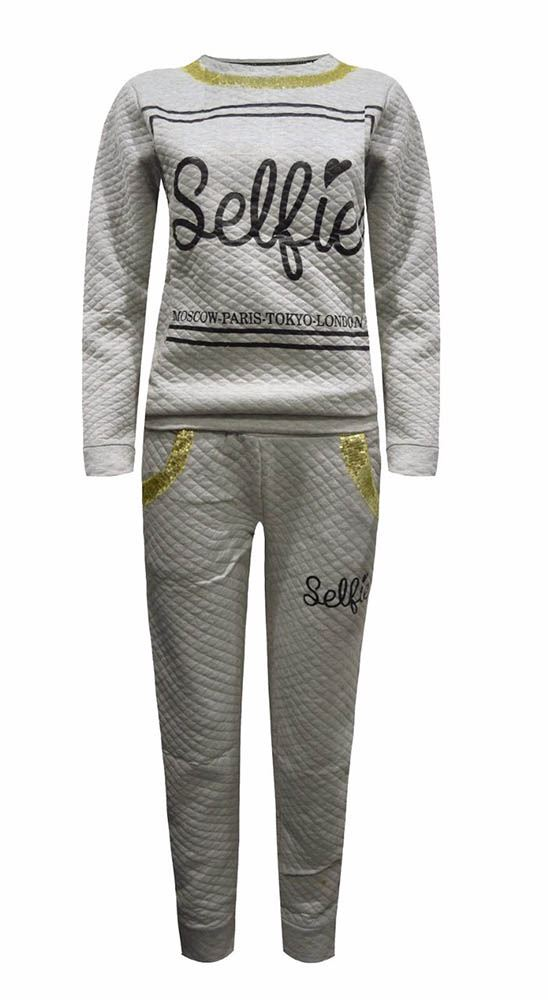 NEW-LADIES-TWO-PIECE-SELFIE-PRINT-GOLD-TRIM-SEQUINS-QUILTED-LOUNGE-TRACKSUIT