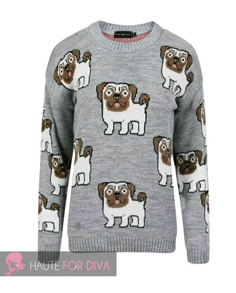 WOMEN S LONG SLEEVE THICK KNITTED PRINTED PUG DOG JUMPER SWEATER SIZE S-L eBay
