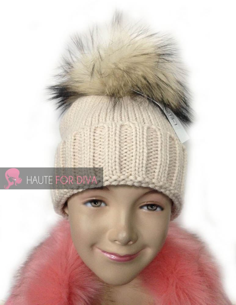 KIDS-GIRLS-KNITTED-BIG-REAL-FUR-POM-POM-WINTER-SKI-BEANIE-BOBBLE-HAT