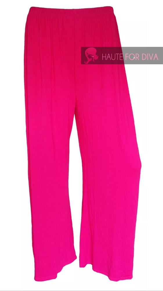 NEW LADIES WIDE LENG LONG PLAIN PALAZZO TROUSERS SUMMER PANTS UK 8-26