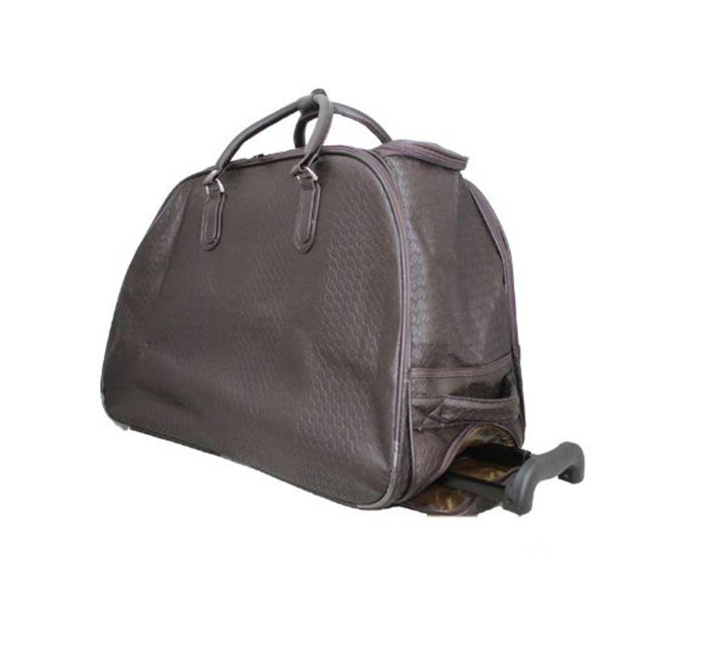 Femme nouveau tressé imprimé à pois sac à roulettes poignée valise voyage holdall