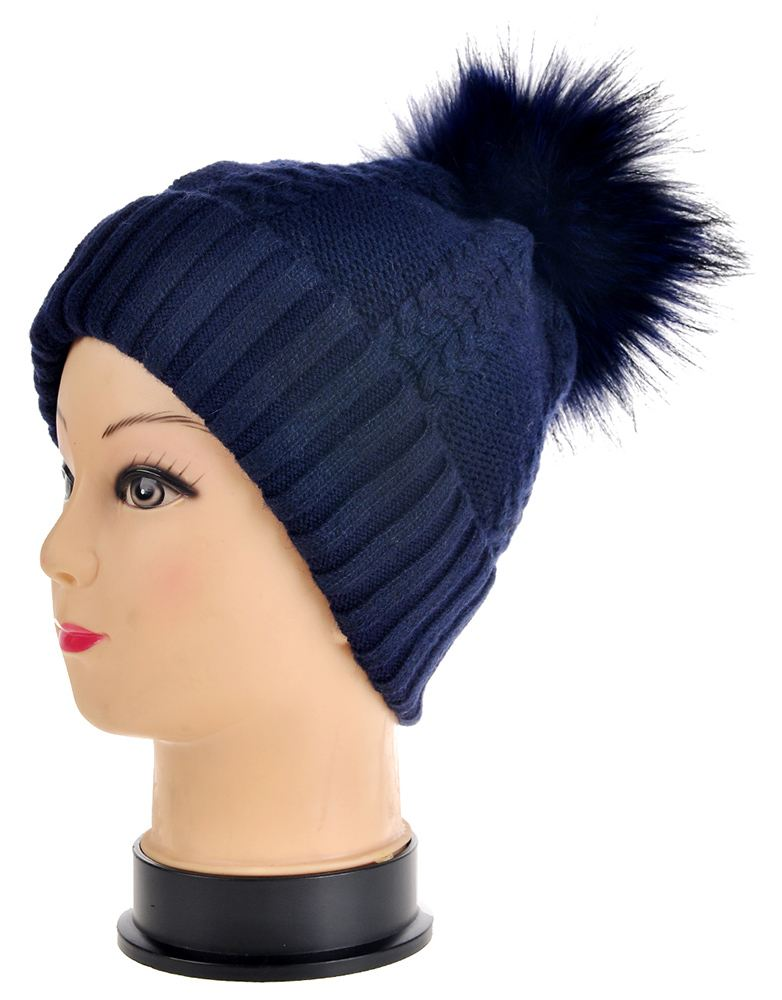 WOMENS GIRLS SKI WINTER KNITTED BEANIE HAT FUR POMPOM ...