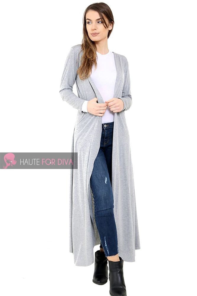 d4c8366d3758a5 NEW WOMENS OPEN FRONT LONG SLEEVE PANELLED BOYFRIEND MAXI CARDIGAN S ...