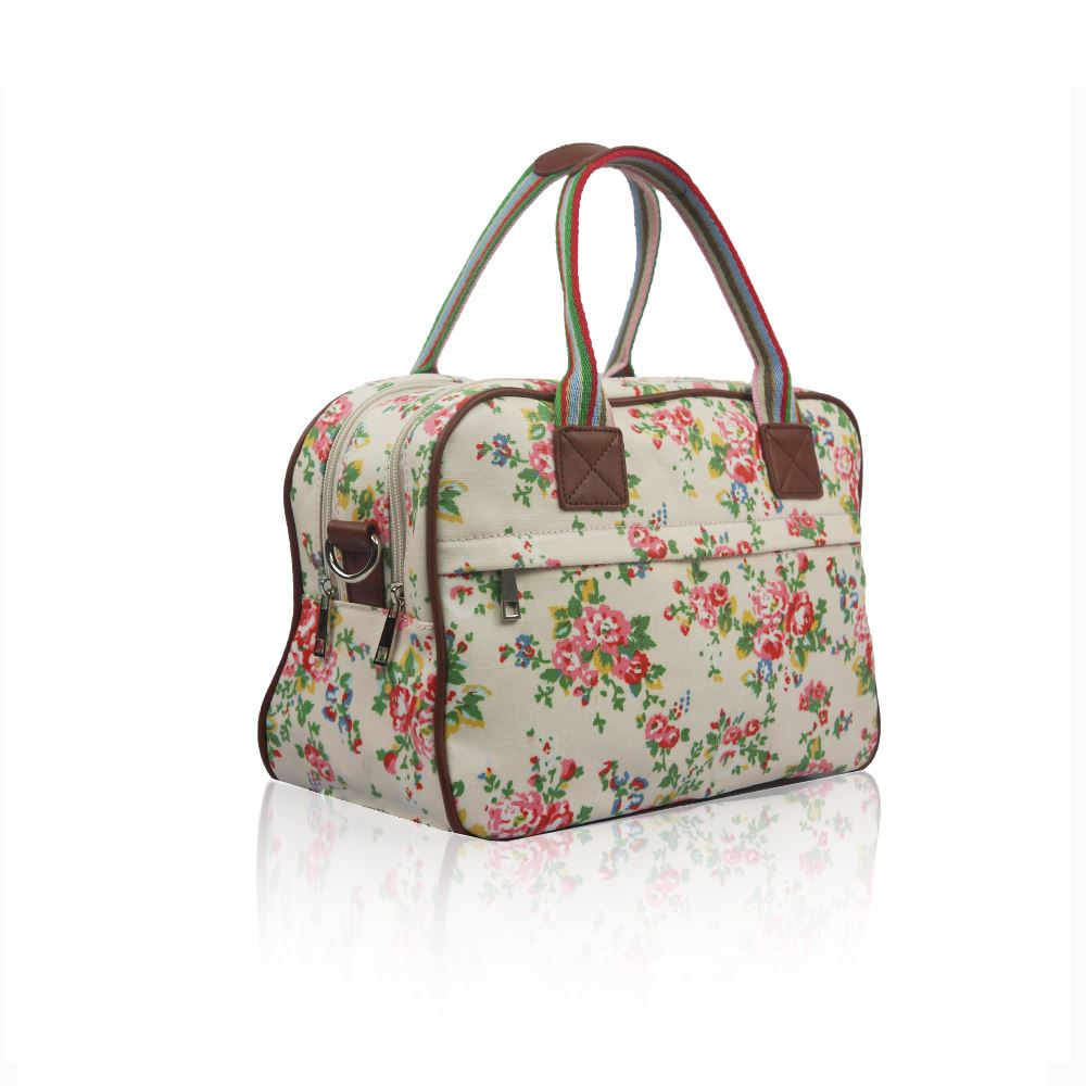 NEW WOMENS VINTAGE FLORAL OVERNIGHT CANVAS BAG WEEKEND SHOULDER ...