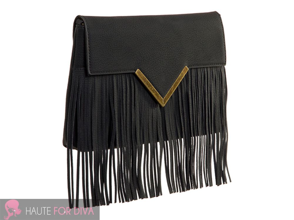 WOMEN'S NEW FRINGE TASSEL GOLD V DETAIL FASHION SHOULDER BAG HANDBAG