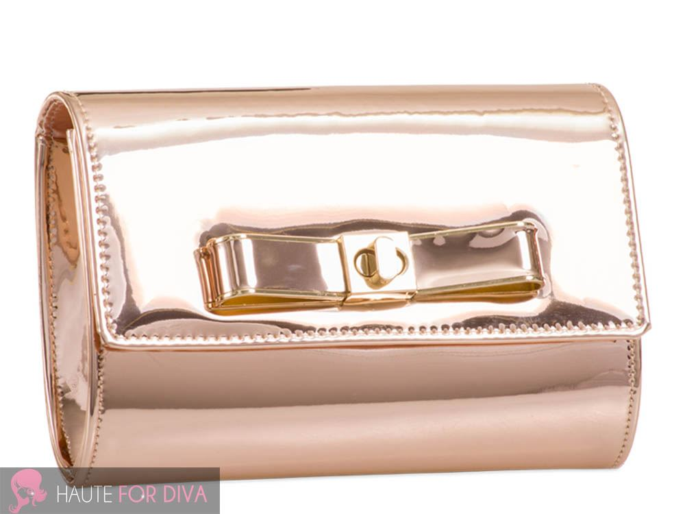 WOMEN-S-NEW-PATENT-LEATHER-BOW-DETAIL-CLASP-GOLDEN-CHAIN-CLUTCH-HANDBAG