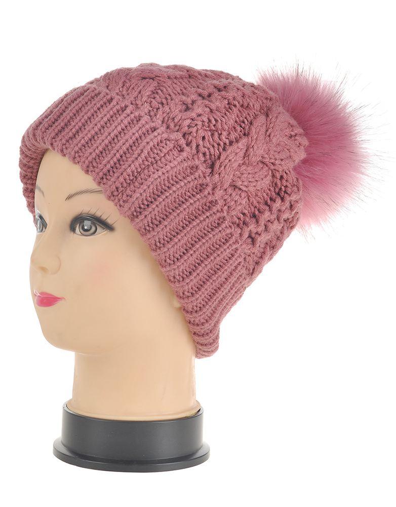 womens knitted flip brim beanie hat fur pompom ski winter