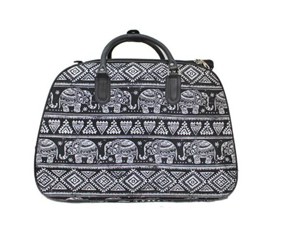 new ladies butterfly elephant print travel handle wheeled suitcase