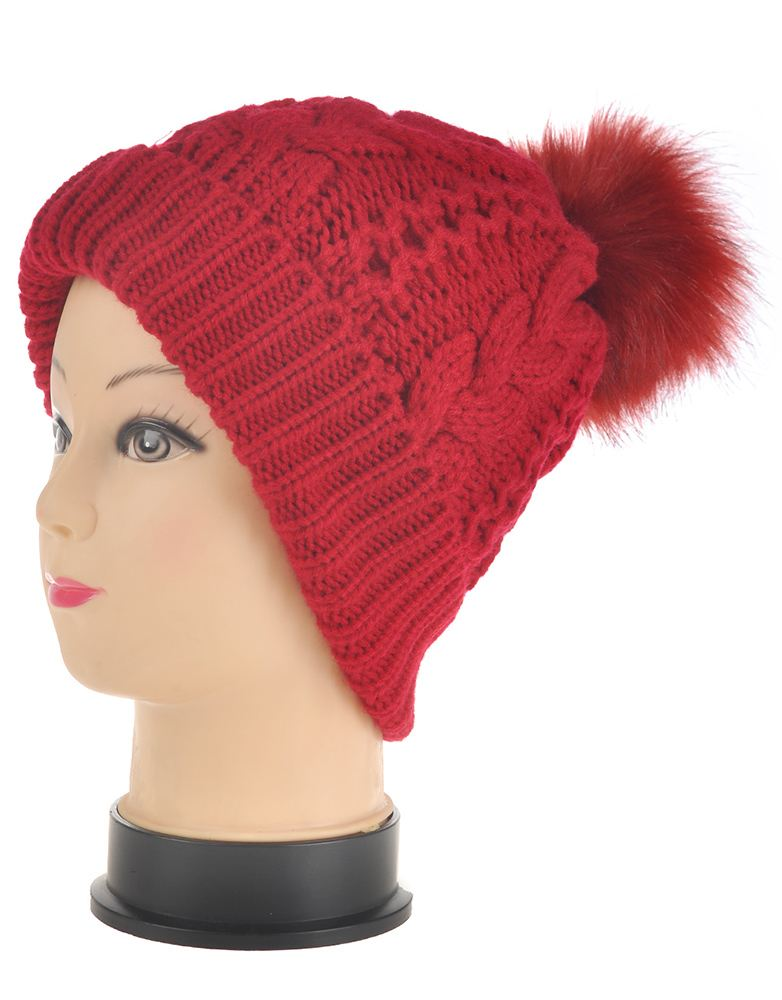 womens knitted flip brim beanie hat fur pompom ski winter
