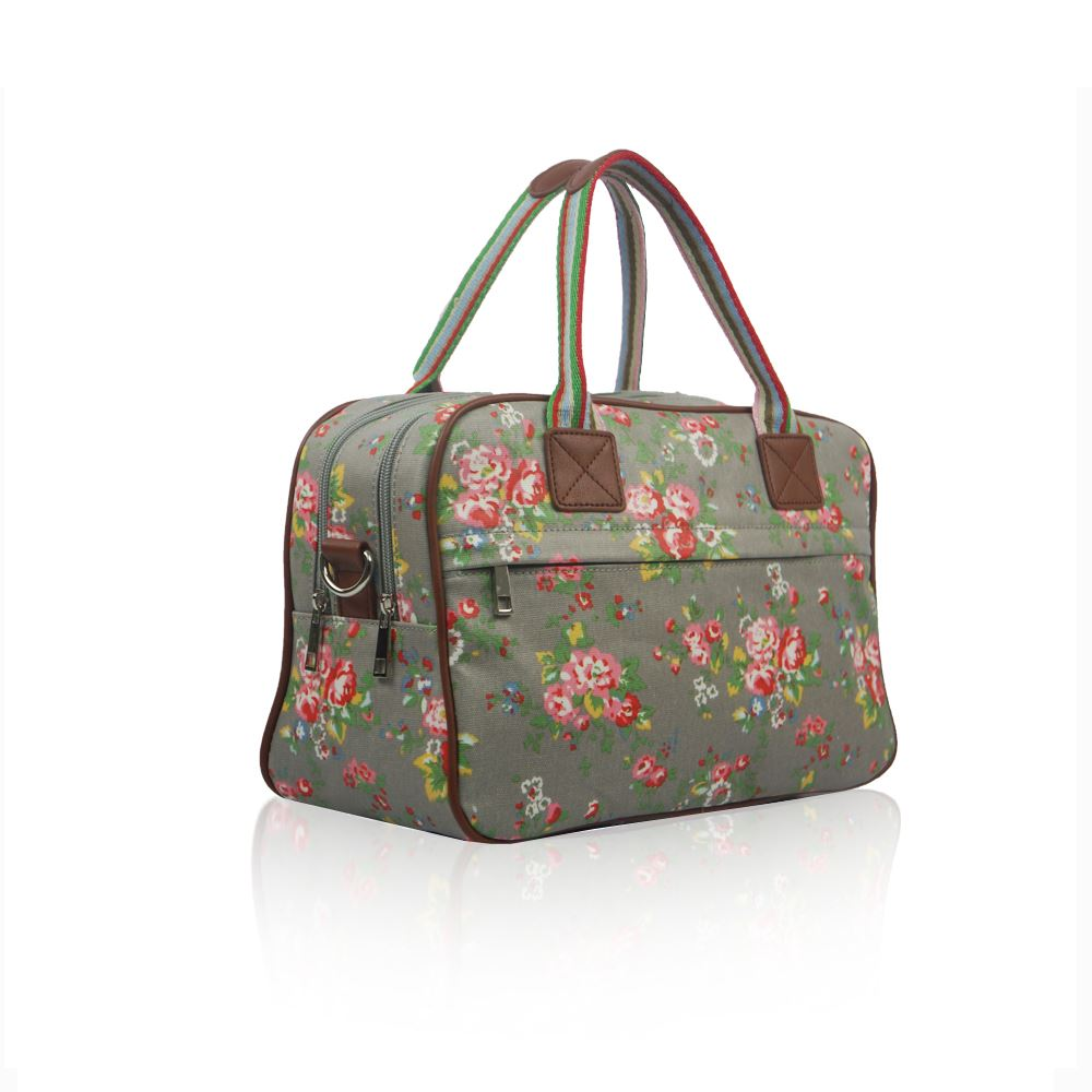 New Womens Vintage Floral Overnight Canvas Bag Weekend