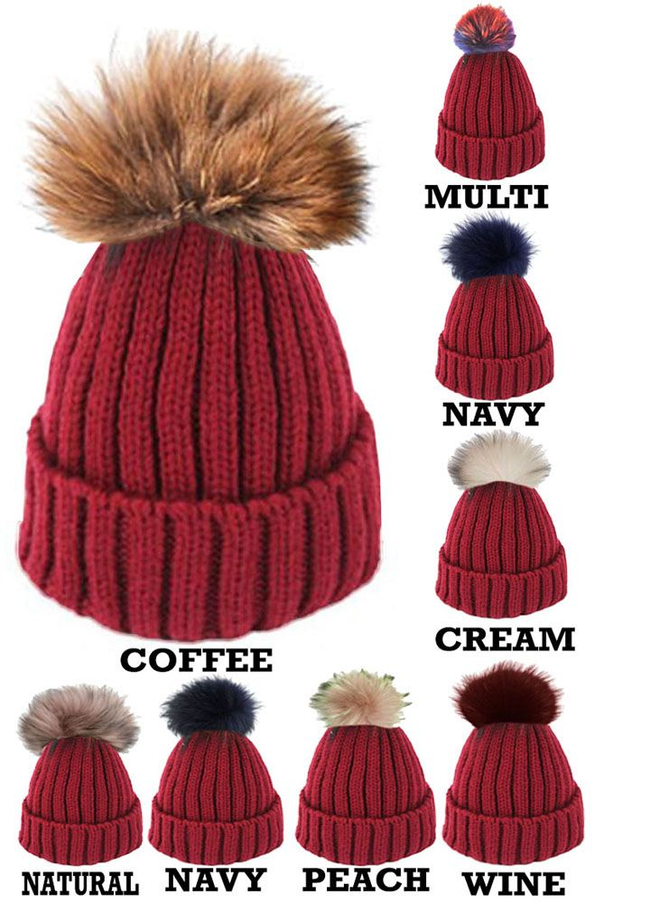 NEW-WOMEN-CUSTOMIZABLE-KNITTED-BEANIE-REAL-FUR-COLOUR-POM-POMS-CAPS-BOBBLE-HATS