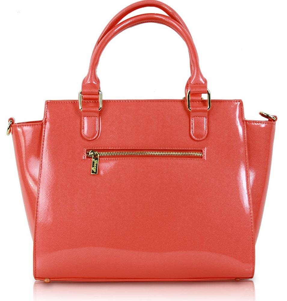 New g3338 Leather Bow Bag Shopper g3338 g3338 Faux Tote claro Design Crossbody rosa Patent fucsia Ladies Coral PTrAPq