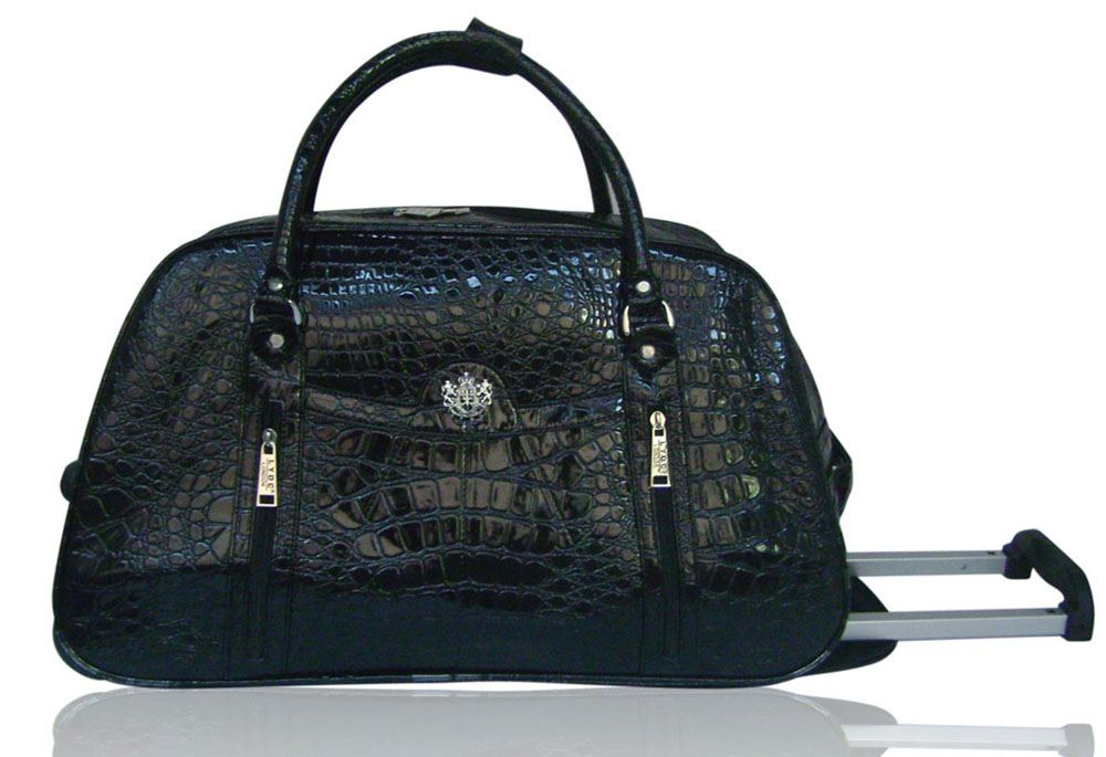 LADIES NEW FAUX PATENT LEATHER MOCK CROC PRINT HOLDALL TRAVEL ...