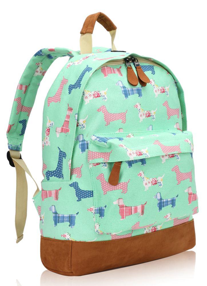 New Canvas Sausage Dog Poodle Print Backpack School Travel
