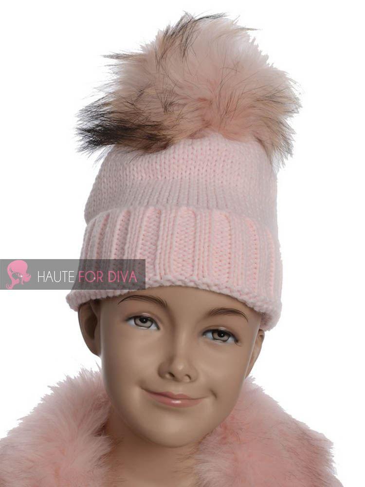 KIDS-KNITTED-WARM-SKI-WINTER-BEANIE-BIG-COLOUR-FAUX-FUR-POM-POM-GIRLS-BOBBLE-HAT