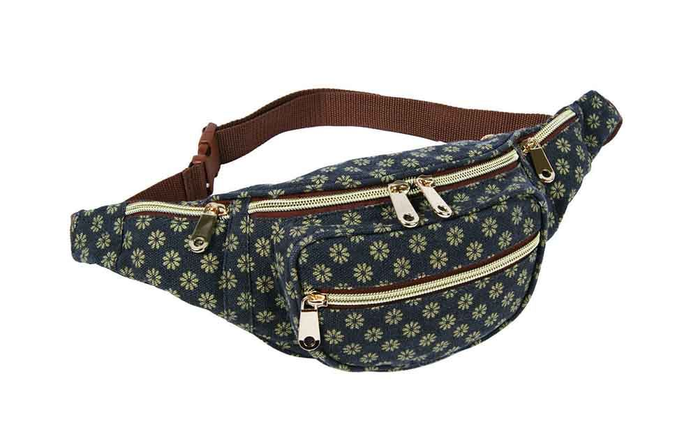 NEW WOMENS AZTEC POLKA DOT FLORAL DENIM CANVAS BUM BAG FESTIVAL ...