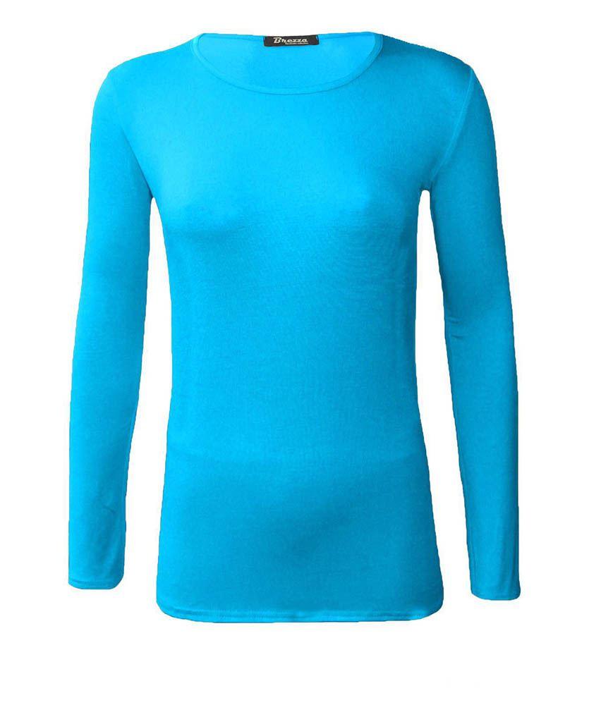 Womens ladies long sleeve plain crew neck t shirt top uk 8 for Crew neck t shirt women