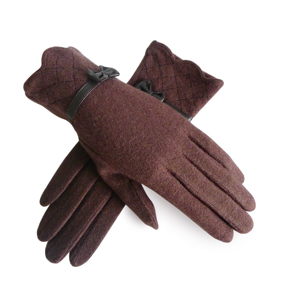 new womens winter evening wool warm gloves pleated bow two