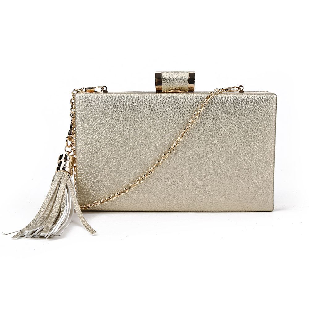 FAUX-LEATHER-LADIES-NEW-HARD-COMPACT-TASSEL-CHAIN-STRAP-EVENING-PROM-CLUTCH-BAG