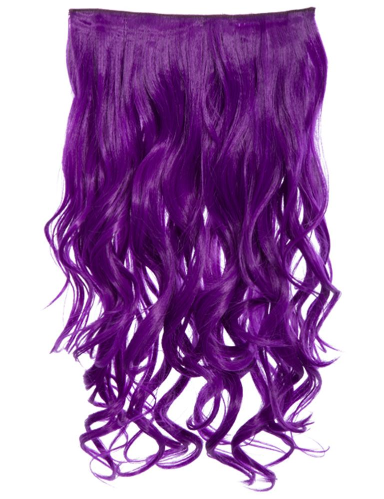 Womens New Bright Colours One Piece Clip In Curly Hair Extension