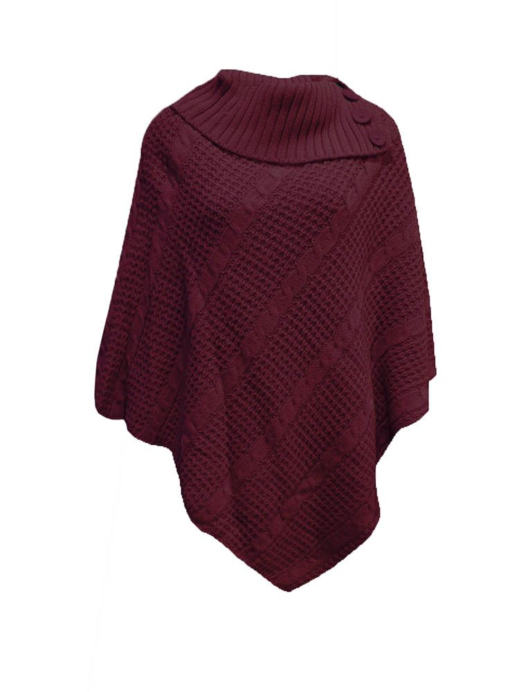 LADIES NEW BUTTON POLO NECK WARM CABLE KNIT WRAP JUMPER ...