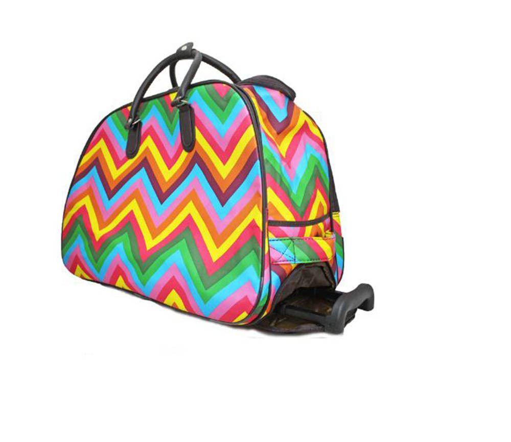 WOMEN'S NEW ZIG ZAG PRINT HOLDALL TRAVEL DUFFLE BAG HANDLE WHEELED SUITCASE