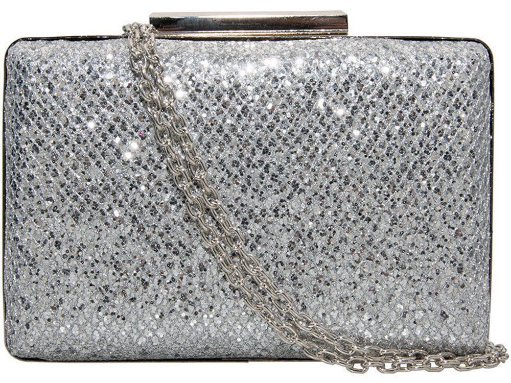 Sparkle Glitter Shimmer Evening Party Clutch Hardcase Box Style Bag