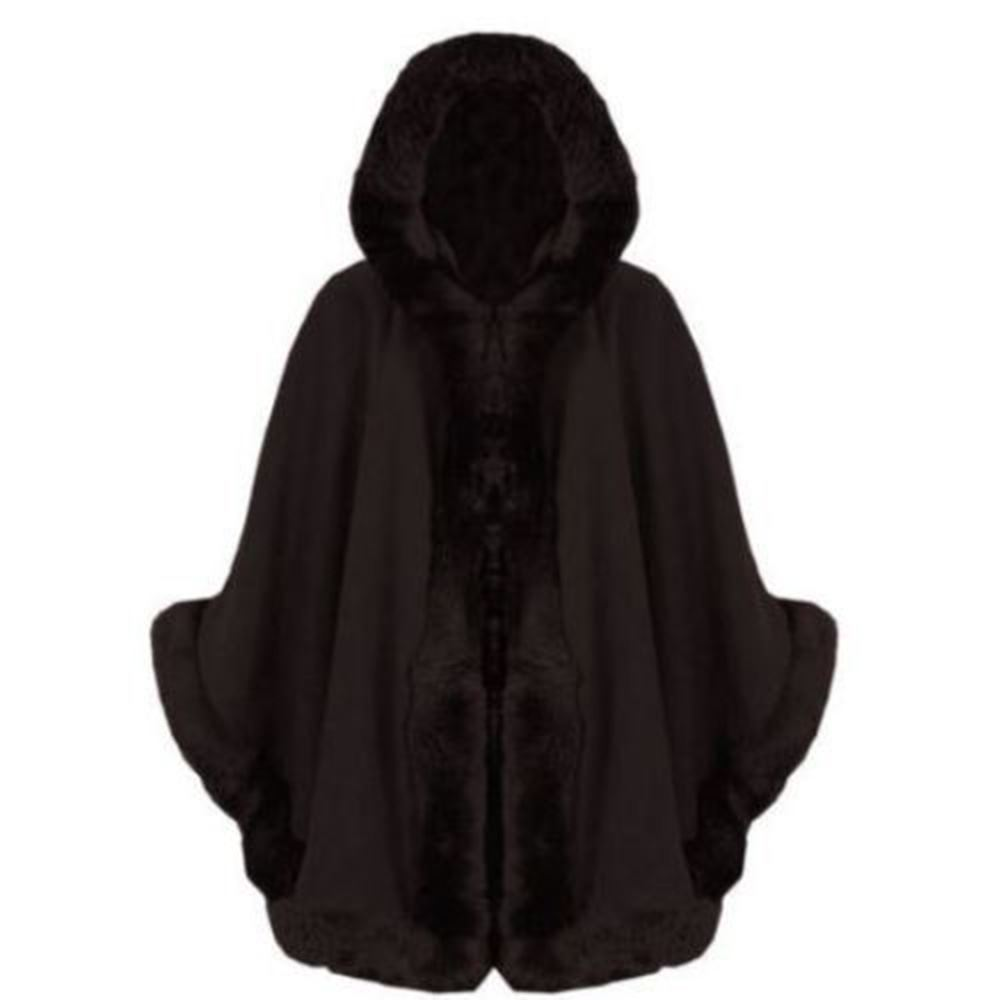 new ladies hooded faux fur lined sleeve wool warm poncho coat cape ebay. Black Bedroom Furniture Sets. Home Design Ideas