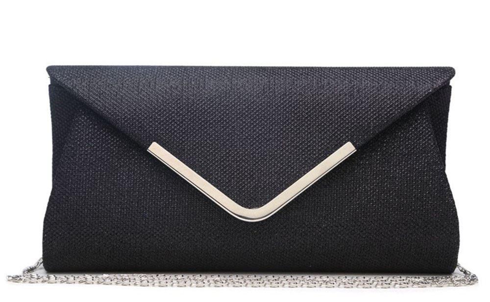 NEW LADIES SHIMMER SILVER TRIM CHAIN CLUTCH BAG ENVELOPE EVENING BAG
