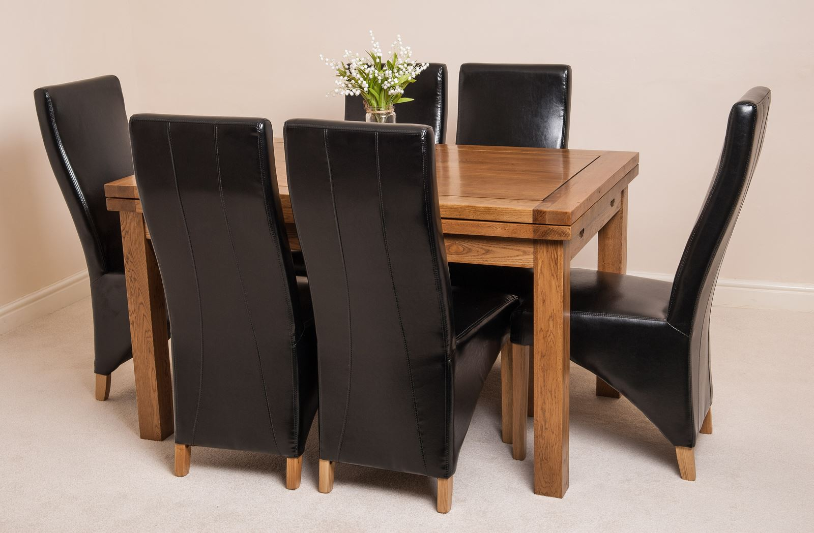 FARMHOUSE RUSTIC SOLID OAK 160cm EXTENDING DINING TABLE 6 LOLA LEATHER