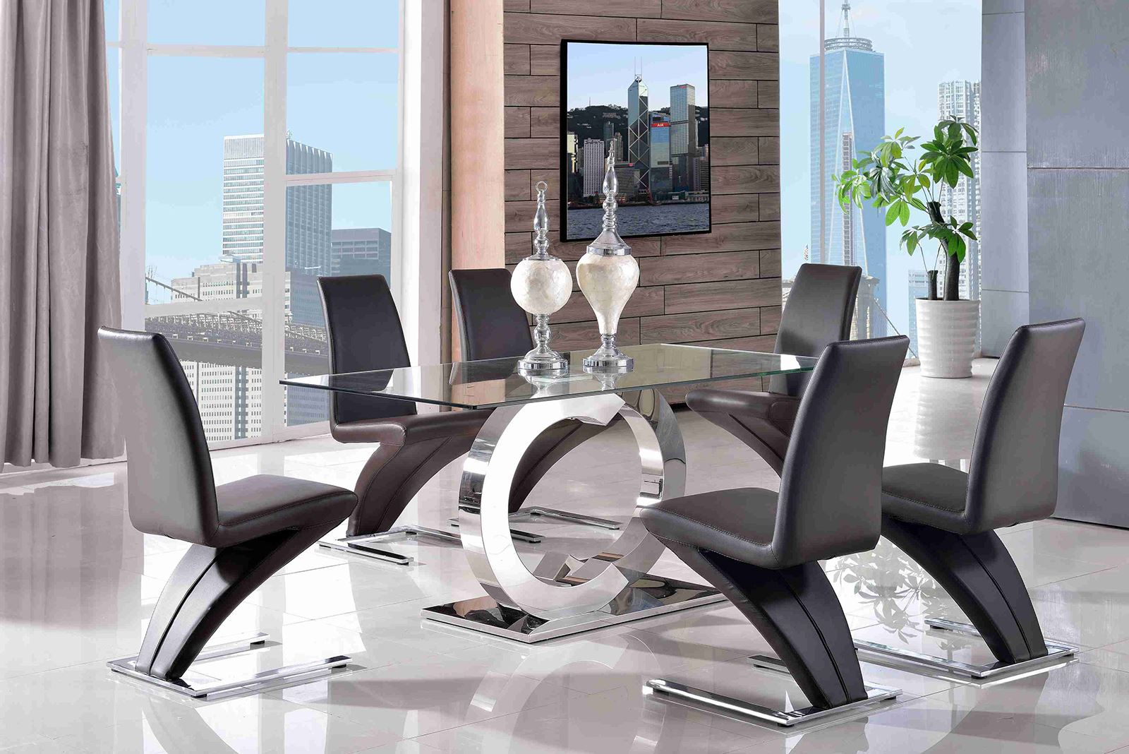 CHANNEL DESGNER GLASS DINING TABLE DINING CHAIR SET NEW DINING ROOM FUR