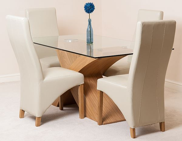 VALENCIA OAK DESIGNER MODERN GLASS DINING TABLE AND  : 1d099807 8f4a 47e7 8a17 74df6d80126f from www.ebay.co.uk size 600 x 465 jpeg 29kB