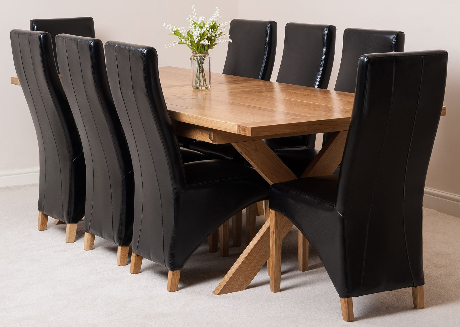 Vermont Solid Oak Extending Dining Room Table Amp 8 Black