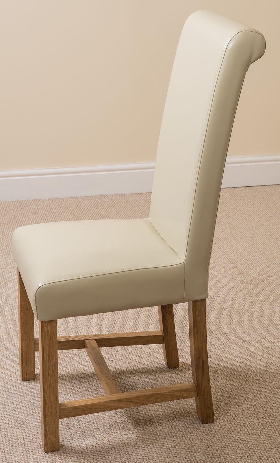 Washington braced scroll back ivory leather dining room kitchen chairs ebay - Kitchen table richmond vt ...