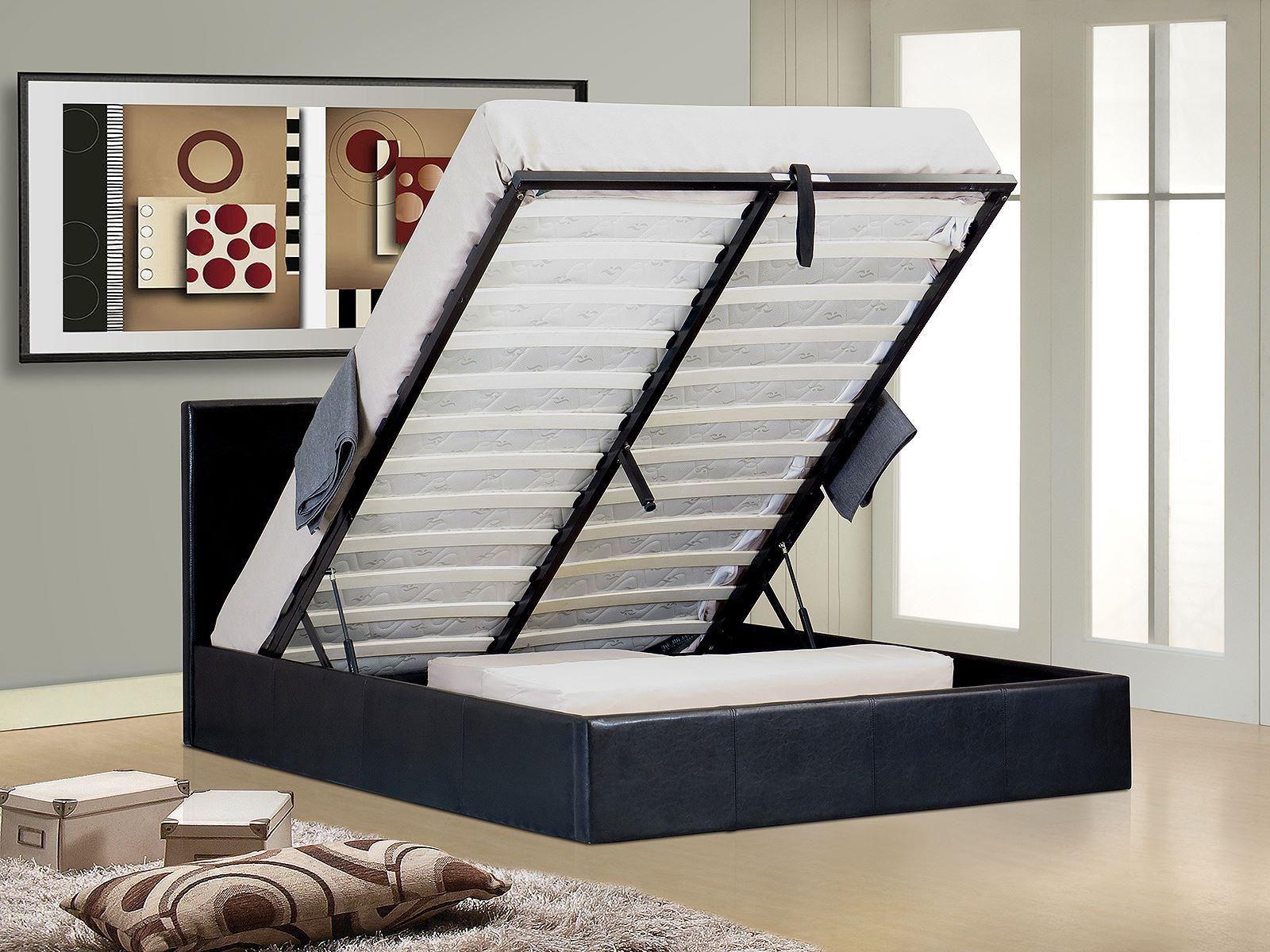 Ottoman stylist gaslift storage double kingsize bed frame for Diy ottoman bed frame