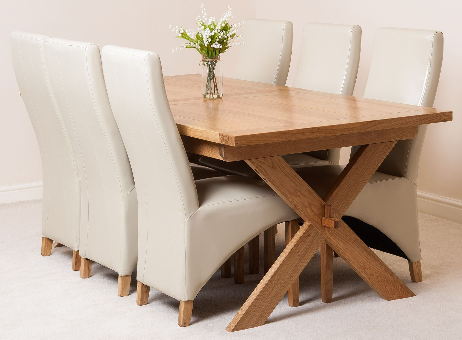 Vermont extending kitchen solid oak dining table and 6 for Leather chairs for kitchen table