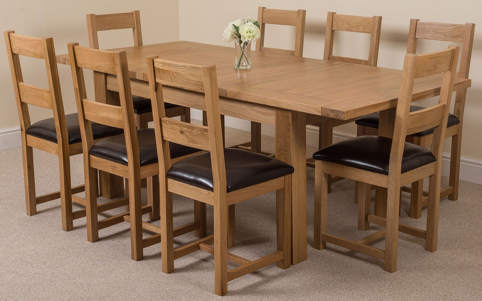 Seattle solid oak extending dining table with or