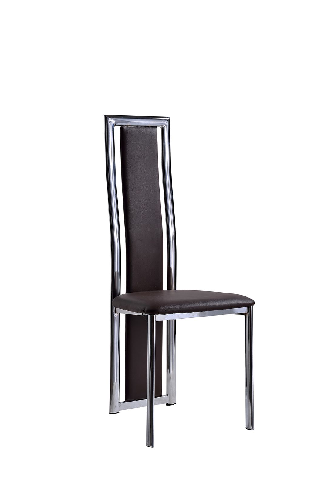 Elsa black faux leather dining room chairs kitchen for Dining chairs metal frame