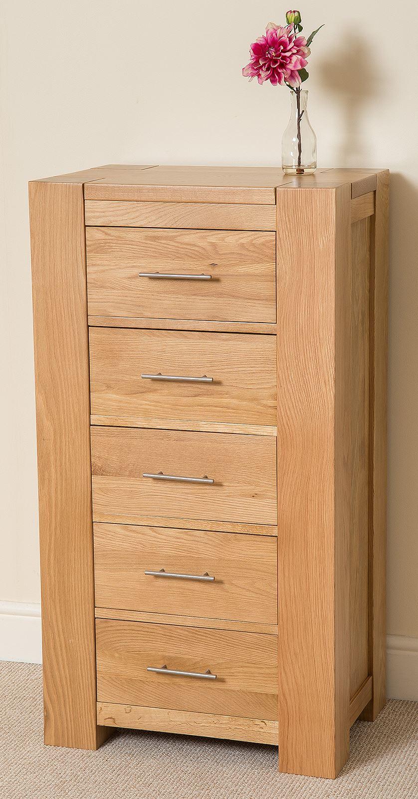 Oak Wood Chest Of Drawers ~ Kuba chunky solid oak wood drawer tallboy chest of