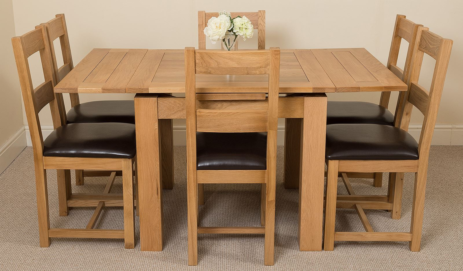 top of the line richmond oak round extending dining table