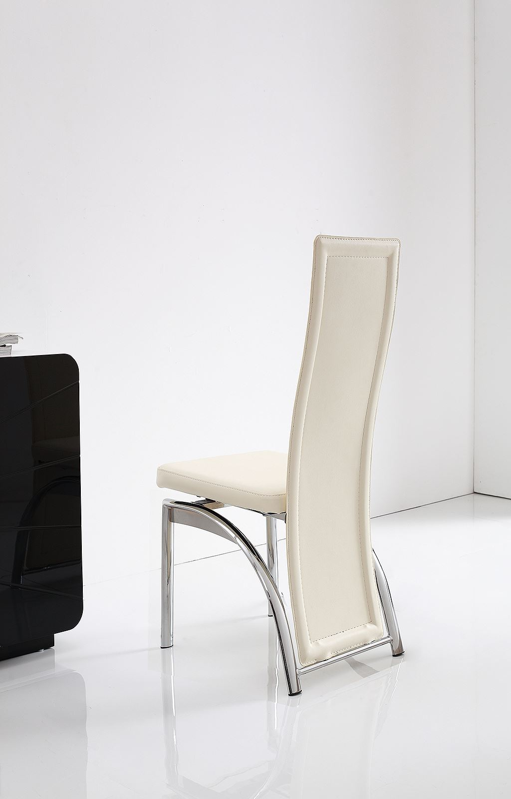 Alisa brown faux leather dining room chairs kitchen for Dining chairs metal frame